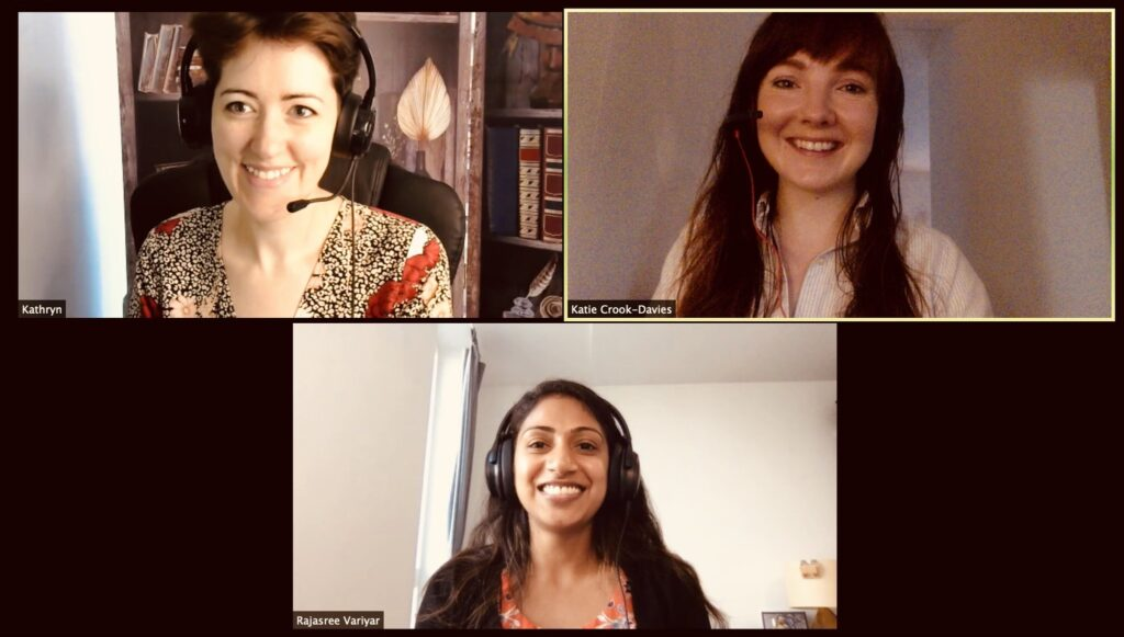 Kathryn Knowles as a guest on the Risky Mix podcast with Katie Tabei and Rajasree Variyar