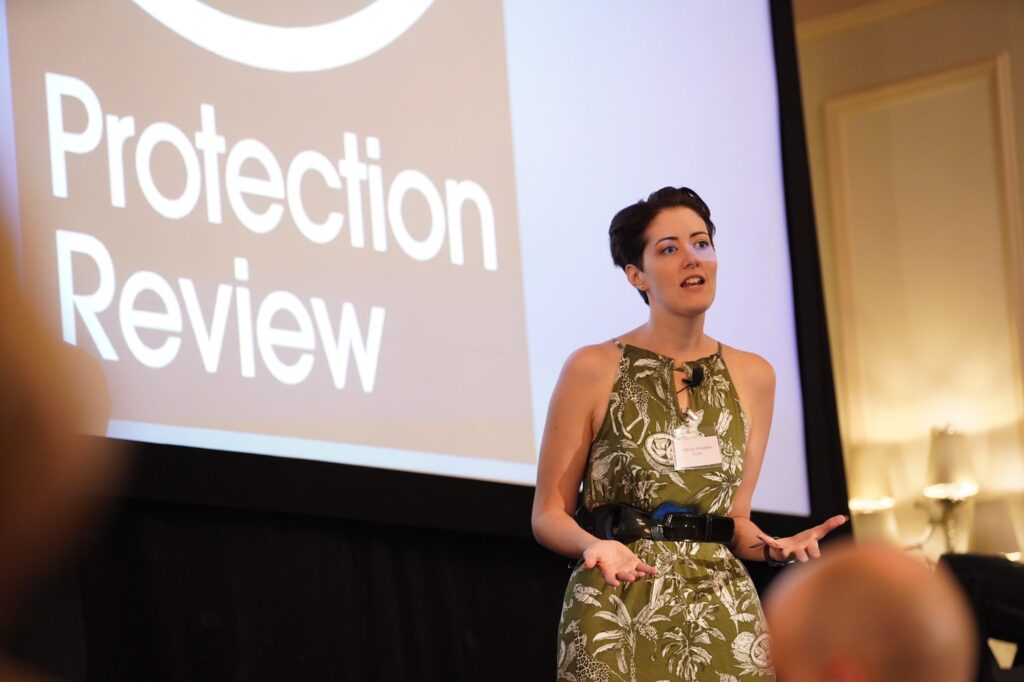 Kathryn Knowles speaking at the Protection Review conference